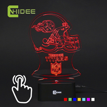 7 Colors Changing 3D Led Lamp USB Nightligs Titans Rugby nfl Football Team Table Lampara as Home Decor Baby Sleeping Night Light