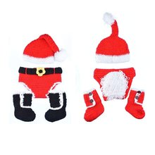Shenzhen 2 Pcs born Baby Boy Girl Christmas Hat&Diaper/Pants Set Santa Knitted Hat+Pants/Shoes Set Newest(China)