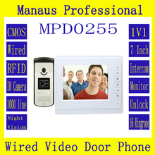"Smarthome 7"" Color Video Intercom Door Phone System With 1 White Monitor 1 RFID Card Reader HD IP44 Doorbell 1000TVL Camera D255"