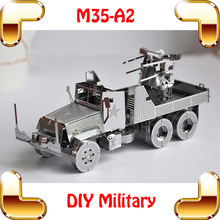 Boyfriend Gift M35 Anti-aircraft 3D Model America Military Truck Car History Vehicle DIY Metal Collection Alloy Puzzle Toys(China)