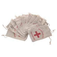 10pcs Cotton Wedding Party Favor Gift Bags 4 x 6 Inch RED Cross Hangover Kit Bag For Bachelorette Hen Party Favors, Recovery K(China)