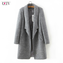 2017 women winter autumn jacket long women coat slim suit collar long style soild woolen coat female jacket