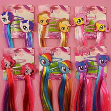 2pcs=1lot Littl Ponys Princess Braid Wig Hair Clips Hairpin Headdress Birthday Party Cosplay Hair Accessories Headband
