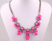 Free Shipping New Trendy Fashion Gunmetal Neon Color resin flower & crystal Pendants Necklace Vintage Jewelry For Women