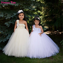 Buy Children Flower Girl Dresses White,Cream Girls Wedding Party Tutu Dress Princess Ball Gown Girls Kids Tulle Dresses 1-14Year for $24.54 in AliExpress store