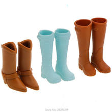 3 Pairs Brown Light Blue High Heels Shoes Boots Elegance Winter Fashion Daily Wear Clothes Accessories For Barbie Doll Gift Toys