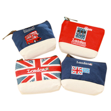 Sales promotion Mini British Style Canvas Coins Purse Keys Bag Wallet with Zipper Closure(China)