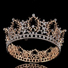 Hot European Golden Royal Crowns 2017 Classic Queen King Chic Regal Show Full Round rhinestones Wedding tiaras and crowns