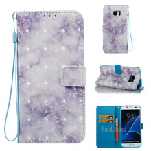 Flip Leather Case For Samsung Galaxy S7 Edge 3D Marble Stone Granite Wallet Phone Bag Cover For Samsung Galaxy S7 Edge G9350(China)