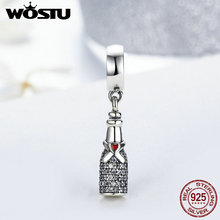 WOSTU Real 925 Sterling Silver Celebration Time Champagne Dangle Charm Fit Original Pandora Bracelet Pendant Jewelry Gift DYC128