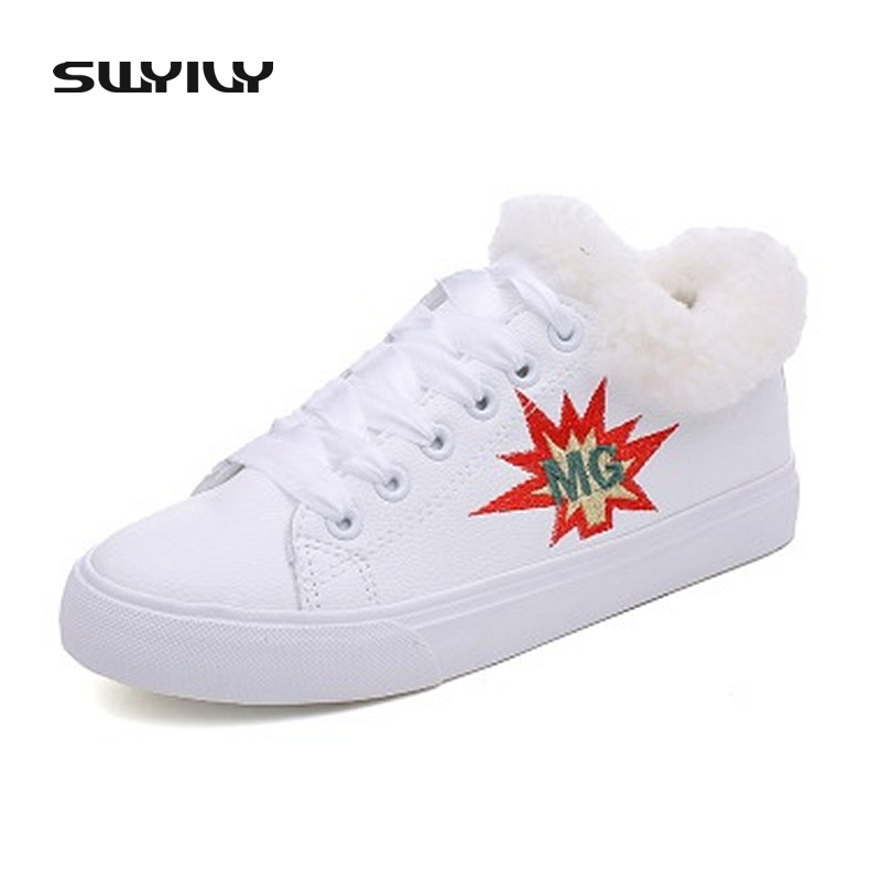 SWYIVY Women Snow Boots Velvet Flats Sneakers 2017 Casual Winter Warm White Canvas Shoes Women Lacing Female Casual Shoes
