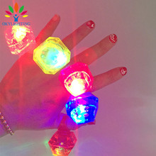 30PCS LED Glowing Huge Diamond Finger Ring Free Shipping Novelty Flashing Light Up Toys for Kids Birthday Wedding Party Favor(China)