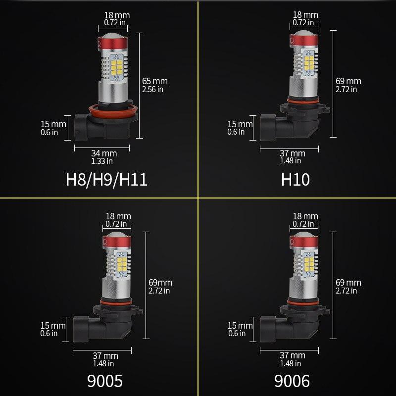 h11 h8 h9 led fog light size