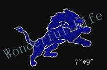 Free Shipping DETROIT LIONS Inspired Logo Fan Art  jumping lion  Rhinestone Hotfix rhinestones  Iron On Transfer