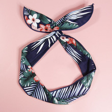 Comfortable Fabric Fashion Classic Plant Graffiti Cartoon Pattern Printing  Rabbit Ears Iron Wire Headband