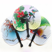 New Arrival Round Folding Hand Fans Paper Practical Wedding Decoration Party Supplie Multi Pattern Printed Paper Hand Fan HG0218