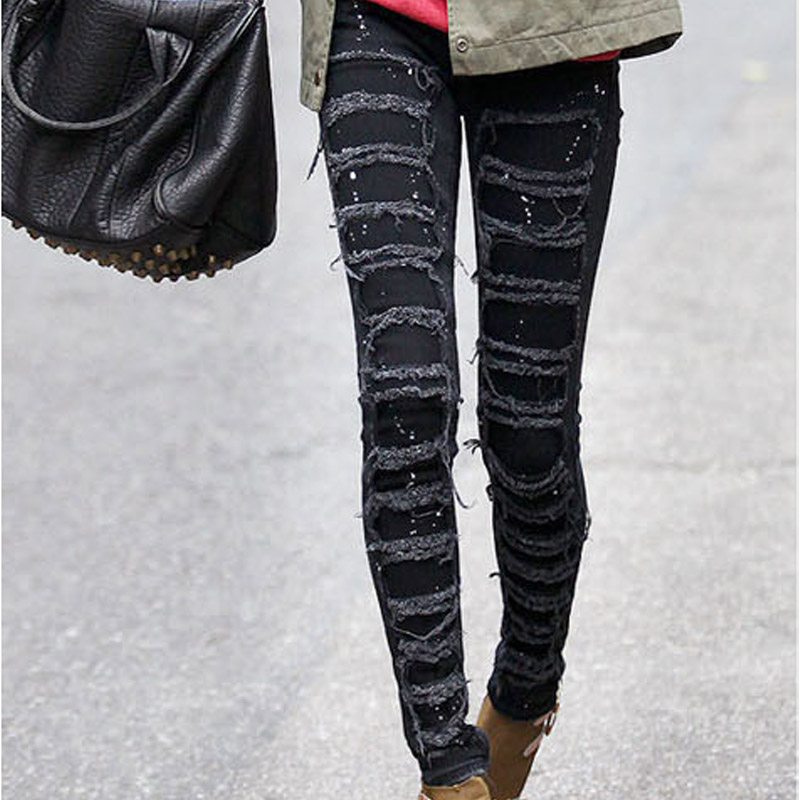 Korean Black Skinny Legs Stretch Denim Hip Female Patchwork Ripped Hole Out White Dot Painting Attractive Street Fashion JeansОдежда и ак�е��уары<br><br><br>Aliexpress
