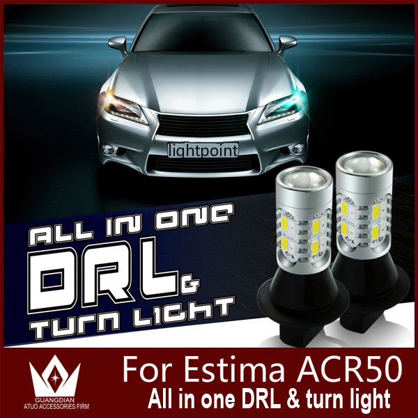 Guang Dian car led light DRL with turn light Daytime Running Lights with Front Turn Signals For Estima ACR50 T20 7440 WY21W<br><br>Aliexpress