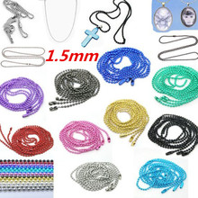 1.5mm Bead Connector Nacklace 70cm Colorful Ball Chain fit Floating Locket Chain Necklace Ball Beads chain Necklace 20Ppcs/lot(China)