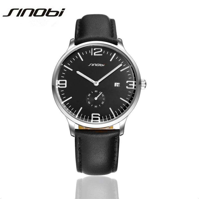 SINOBI Fashion Genuine Leather Sports Quartz Watch For Man Military Chronograph Wrist Watches Men Army Style Reloj Hombre AA102<br><br>Aliexpress