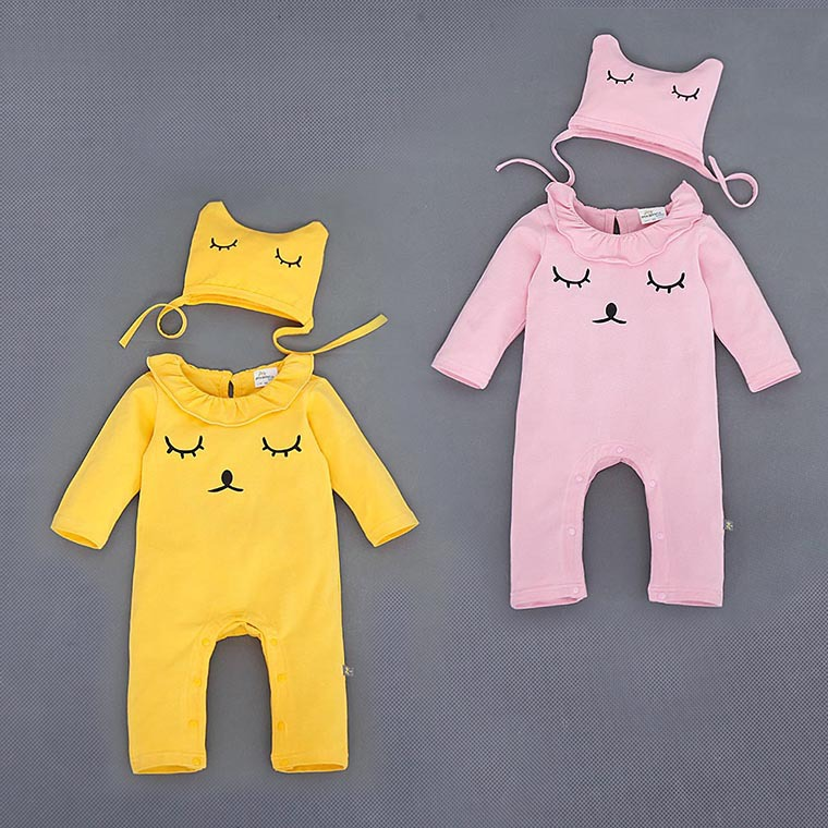 Spring Autumn Baby Clothes 2016 New Design Cartoon And Letter Print Baby Girl Boy Rompers NewBorn Baby Cotton Clothing with hat<br><br>Aliexpress