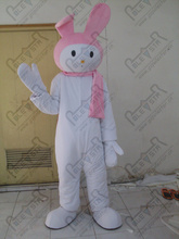 export high quality POLE STAR quality foam head costumes slim pink ear bunny mascot costumes character white rabbit mascot costu