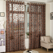 tulles warp knitting Chinese leaves 3D Window Curtains fabric Tulle Sheers Curtains for living room curtains for bed room