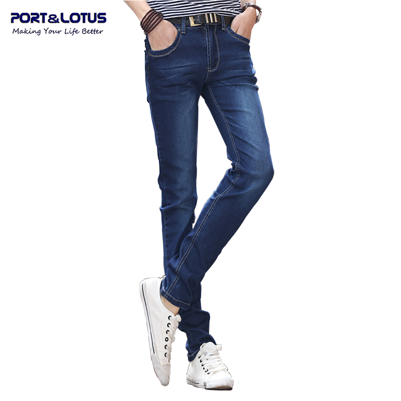 Port&amp;Lotus Fashion Casual Jeans Korean Style With Zipper Fly Solid Color Midweight Pencil Pants Slim Fit Men Jeans 014 wholesaleОдежда и ак�е��уары<br><br><br>Aliexpress