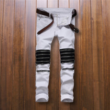 New style Best version 2016  zippers men jeans  skinny slim fit mens Distressed cotton Denim jeans Red and white street pant