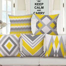 Yellow Grey Geometric Art Cushion Cover Chevron Stripes Plaids Mountain Rhombus Cushion Covers Sofa Beige Linen Pillow Case(China)