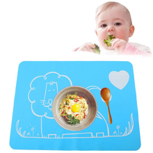 Cute Baby Silicone Placemat for Bowls Cup Slip-resistant Baby Silicon Plate Waterproof Snack Mat Kids Dining Table Mat Tableware