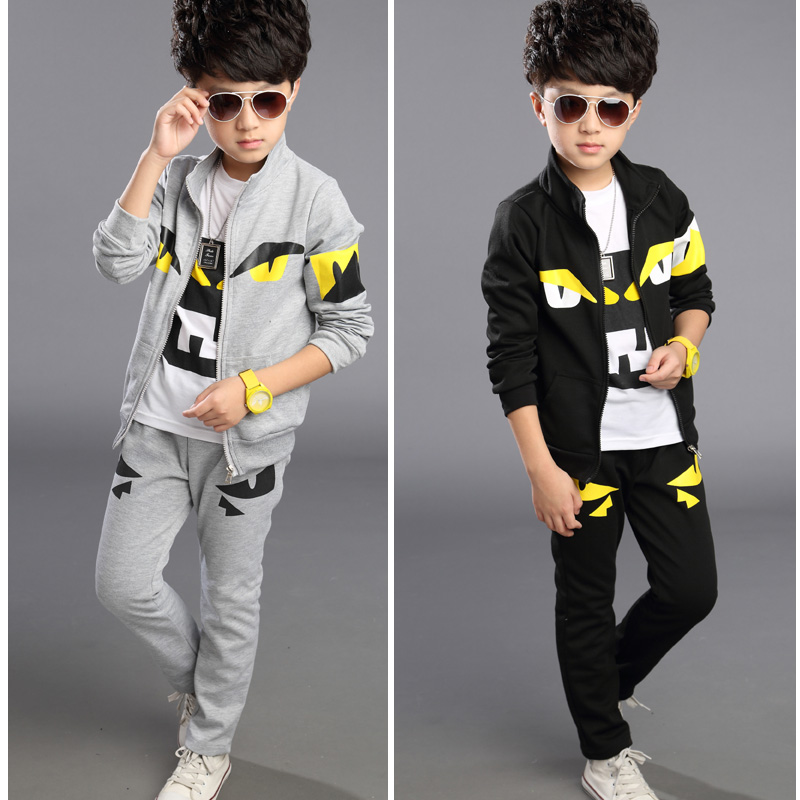 Free shipping new arrival spring/autumn 100% cotton boy clothing set two pieces jacket+pant boy sport suit<br>