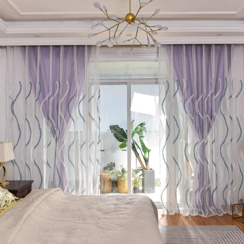 Embroidered blue dots sheer fabric striped Curtains For Living Room Transparent Tulle Bedroom Curtain Kitchen Window set wp023&3