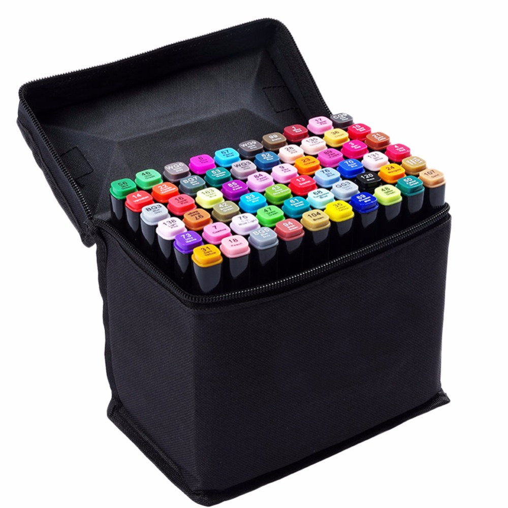 60 Colors Dual Tip Marker Pen Plastic Holder Waterproof Professional for Arts Sketch Coloring Books Painting Manga and Design<br>