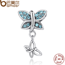 BAMOER 2017 Spring Collection 925 Sterling Silver Blue Crystals Butterfly Pendants Charm fit Bracelets SCC030(China)