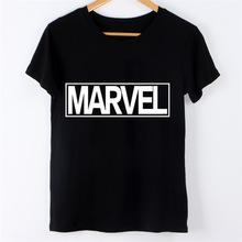 Aliexpress wish eBay explosion models Marvel letter stamp individuality summer hot short sleeved T-shirt
