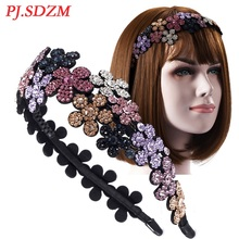 Luxury Hairband for Women Girl Full Crystal Sparkling Floral Hair Accessoies Bridal Vintage Inspired Rhinestone Hairband FG0016