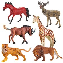 Action Figures Animal Model Toys Set Lion Tiger Wildebeest Giraffe Deer Horse Learning Educational Toys for Children Kids Gifts