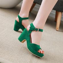 YMECHIC 2018 Green Black Yellow Chunky Block High Heel Women Sandals Summer  Shoes Peep Toe Casual a6663b9d965f