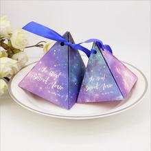 Wholesale 100pcs blue/purple Starry Sky night candy box sweet love wedding party gift bag wrap chocolate cake boxes party decor