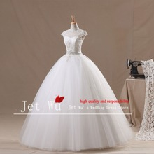 2016 New Real Natural Sample Noble Ball Gown High Collar Cap Sleeve Open Back Tulle Skirt Wedding Dress Manufacturer(China)