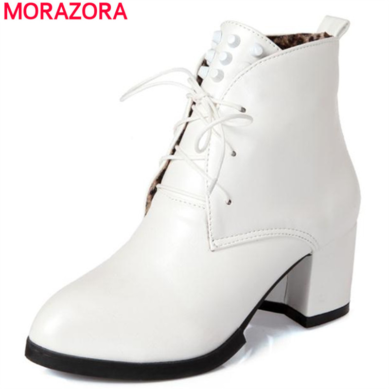 MORAZORA girl autumn college wind pointed toe pu women shoes ankle boots front lace-up large size 34-43 rivets solid<br><br>Aliexpress