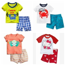 Retail! Brand Summer Kids Girls Boys Crab Print Pajamas Short Sleeve Set Cartoon Pijamas Sleepwear Toddler Pyjamas Clothing