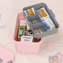 HIPSTEEN Medicine Storage Box Portable Hand-held Double Layered First-aid Medical Box Household Emergency Chest of Drawers