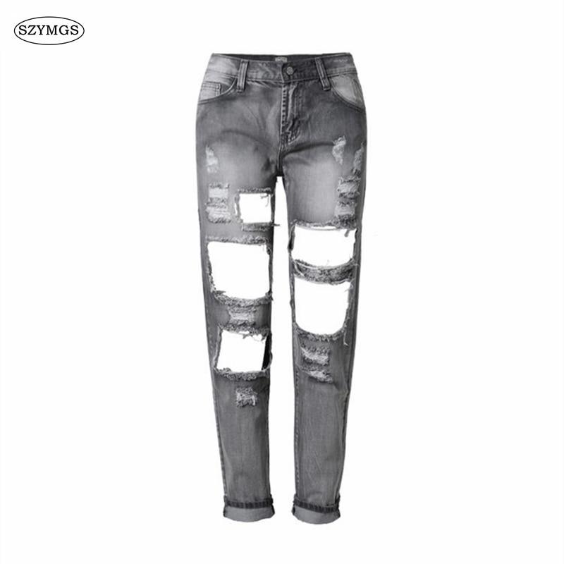SZYMGS HOT Fashion gray Women Jeans Casual Ladies Hole Jeans Straight Denim Ripped Jeans For Women denim jean pantsÎäåæäà è àêñåññóàðû<br><br>