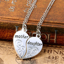 Fashion 2Pcs Silver Plated Mother Daughter Necklace Silver Heart Love Mom Necklaces & Pendants For Women Jewelry collier femme.