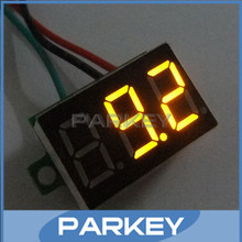 20 PCS/LOT DC 0-100V Digital Voltmeter Car Motorcycle Battery Monitor Yellow Slim LED Panel Voltage Meter with Ear
