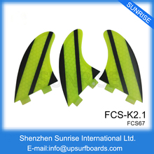 Barbatanas de Surf FCS Fins K2.1 Size Surf Fin New Design Yellow Honeycomb Surf Board Fins in Surfing