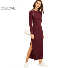 COLROVIE Winter Dresses for Women European Style Women Fall Dresses Burgundy Knitted Long Sleeve High Slit Ribbed Dress
