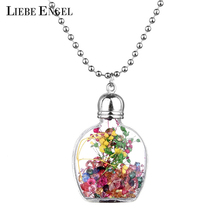 LIEBE ENGEL Trendy  Glass Bottle Pendant Necklace  Women Pretty Dried Flower Decor Fashion Jewelry Girl Best Gifts  Friedns